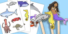 The Little Fish Stick Puppets