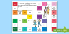 2 Times Table Multiplication and Division Board Game