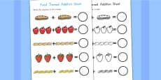 Australia - Food Themed Addition Sheet