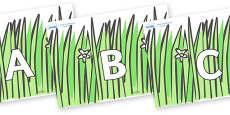 A-Z Alphabet on Wavy Grass