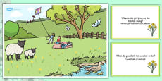 Spring Park Scene and Question Cards Arabic Translation