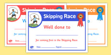 Sports Day Skipping Race Certificates