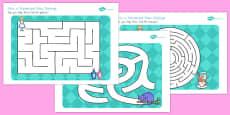 Alice in Wonderland Maze Activity Sheets