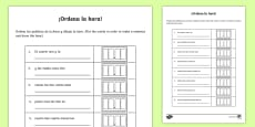 * NEW * Telling The Time Sentence Scramble Activity Sheet Spanish