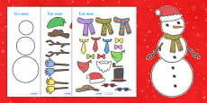 Snowman Christmas Cards Designing Worksheets