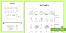 Clothes Patterns Cut and Paste Activity Sheet Gaeilge