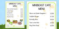 Minibeast Cafe Menu Role Play