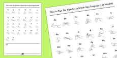 How to Sign the Alphabet in British Sign Language Handout Left Handed