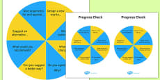 KS3 Bloom's Taxonomy Question Wheel Create and Evaluate Progress Check
