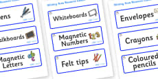 Sports Themed Editable Writing Area Resource Labels