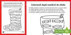 Coloreaza dupa numarul de silabe cizmulita Sfantului Nicolae Fișă de lucru