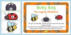 Peg Legging Minibeasts Activity and Prompt Card