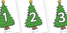 Numbers 0-30 on Christmas Trees (Plain)