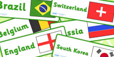 World Cup Country and Flag Labels