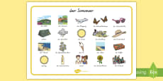 Summer Word Mat Images German