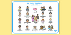Family Word Mat Arabic Translation