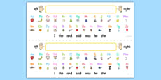 Alphabet Desk Strips with Pictures and High Frequency Words