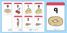 Number Bonds to 9 Matching Cards (Food)