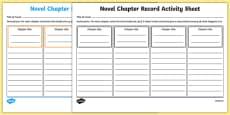 Novel Chapter Record Activity Sheet