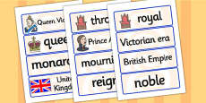 Queen Victoria Word Cards