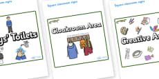 Crocodile Themed Editable Square Classroom Area Signs (Plain)