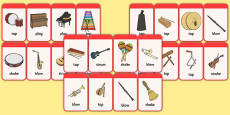 Musical Instrument Flashcards (with Action)
