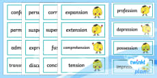 PlanIt English Additional Resources Year 4 Term 1B Word Cards