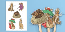Beatrix Potter - The Tale of Benjamin Bunny Stick Puppets