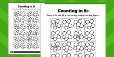 Counting in 5s Flowers Activity Sheets