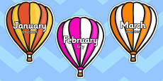 Months of the Year on Hot Air Balloons Stripes Polish Translation