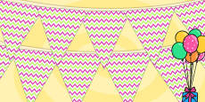 Zig Zag Birthday Party Pattern Bunting Pink And Green