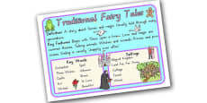Story Genres Traditional Fairy Tales Display Poster
