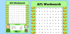 AFL Australian Football League Wordsearch