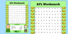 AFL Australian Football League Wordsearch