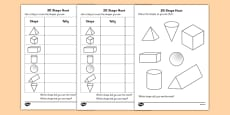 3D Shape Hunt Activity Sheet