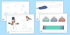 Winter Pencil Control Activity Sheets Romanian