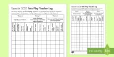 GCSE Spanish Role Play Teacher Log