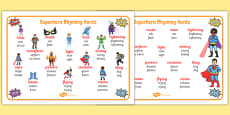 Superhero-Themed Rhyming Word Mat