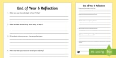 End of Year 6 Reflection Activity Sheet