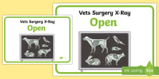 * NEW * Vets Surgery Role Play Animal X-Ray Sign Display Poster