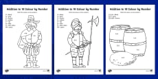 Guy Fawkes Themed Addition to 10 Roll and Colour Activity Sheet