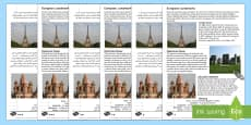 Europe Landmarks Reading Comprehension Activity Arabic/English