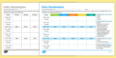 Design Your Own School Timetable Activity Sheet German
