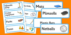 Sports Themed Editable PE Resource Labels