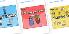 Eagle Themed Editable Square Classroom Area Signs (Colourful)