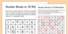 Number Bonds to 10 Wordsearch