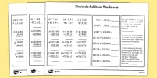 Decimals Addition Worksheet
