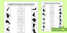* NEW * Canada's Province's and Territories Shadow Matching Activity Sheet