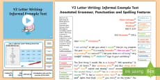 * NEW * Y2 Letter Writing: Informal Model/Example Text