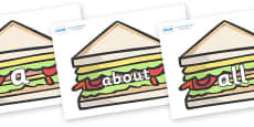 100 High Frequency Words on Sandwiches to Support Teaching on The Lighthouse Keeper's Lunch